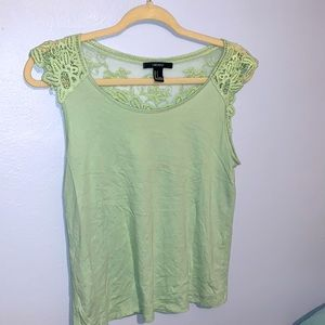 Mint green lace back tank blouse